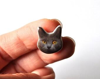 Chat Chartreux gris - Pins kawaii Photo Tete de Chat ; bijoux col en resine pour cat ladies