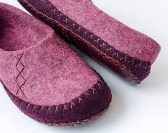 Womens moccasin slippers Rose Slippers Purple Slippers Warm Slippers Organic Slippers Home Shoes