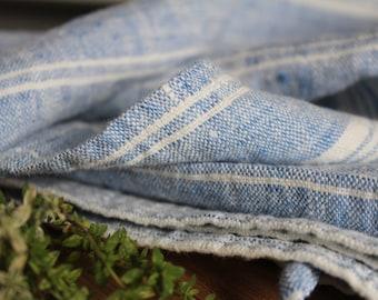 Linen Tea towel, SET OF 2 TOWELS,rustic,Dish Towel, Pure linen blue milk/white, striped Tea Towel Pre-washed softened Flax Towels Gift idea