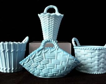 4 x Sowerby~Antique~Victorian~Turquoise~Vitro-Porcelain~Art Glass~Posy~Baskets~c.1880's