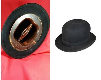 VINTAGE HAT STRETCHER and Vintage Bowler Hat for Display Hatter Prop British Decor Ships Free
