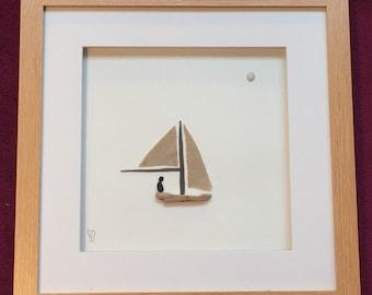 "Pebble Art - ""Sail Away"""