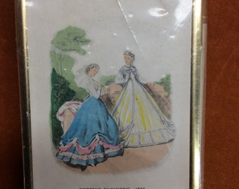 Vintage flip top notepad with pen Godey's Fashions 1851