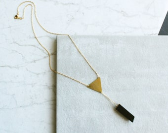 Black Agate with Brass Triangle Pendant, Crystal Necklace, Bohemian Jewelry