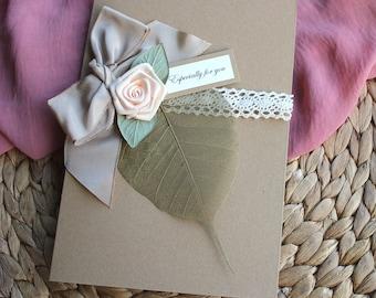 Wife Anniversary Card Handmade 4th Anniversary Card Linen Anniversary Shabby Chic 4 Years Fourth Anniversary Personalised Husband Card
