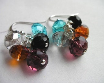 Fun Colorful Crystal Beaded Earrings, Crystal Earrings, Colorful Earrings, Colourful Earrings