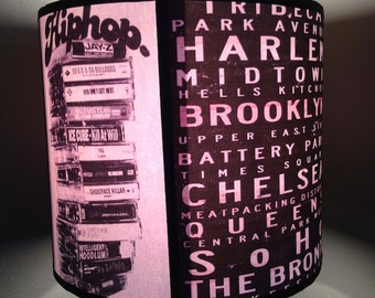 Vintage New York Bus Transit Destination Scroll Inspired Lampshade 'NEWYORKNEWYORK'