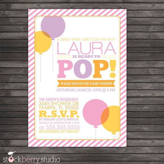 Ready To Pop Baby Shower Invitation Printable Girl Baby