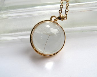 Dandelion Wish Necklace Made From Real Dandelion Spore Gold Necklace, Real Flower Necklace, Long Necklace, SALE