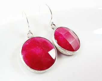 Cherry Red Round Gemstone Earrings - Jade - Matte Silver plated with Sterling Silver Earwire