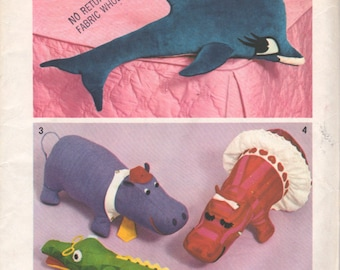 Simplicity 5778 1970s Set of Stuffed Toys Pattern Dolphin Alligator Mr Mrs Hippo Fiona Vintage Sewing Pattern UNCUT