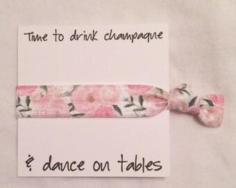 Bridesmaid hair tie favor//hair tie card//party favor//elastic hair tie