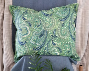 Pretty Paisley Print Decorative  Throw Pillow with Blues and Greens! Indoor Outdoor