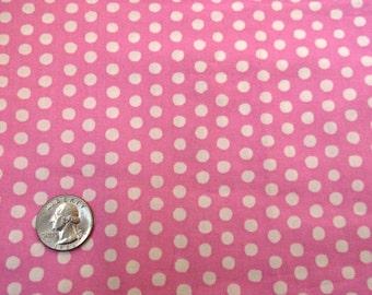 "Pink Polka Dot Fabric Fat Quarter (22"" X 18"")Piece 100% Cotton Quilting Medium Pink White Dotted Quilt Textile Craft Sewing Destash Sale New"