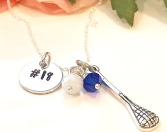 Personalized  Lacrosse Charm Necklace-Mom Lacrosse Necklace-Team Lacrosse Necklace-LAX team Jewelry-Lacrosse Charm- LAX girls soccer necklac