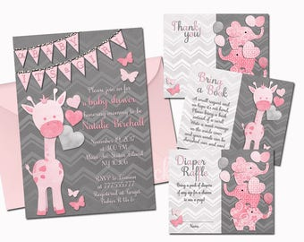 Giraffe baby shower printable invitation set grey pink baby girl digital invite with inserts elephants thank you card