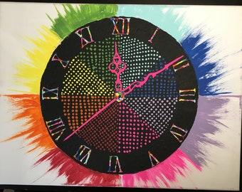 Original Abstract Clock Painting