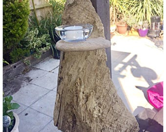 Handcrafted Beautiful Driftwood Candle Holder. Bespoke Piece. Freestanding Or Wall Mounted.