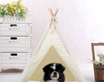 Natural canvas pet teepee with padded mat