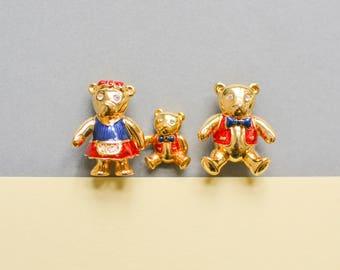 Vintage 90s bear brooch set, teddy brooch, 90s jewelry, statement brooch