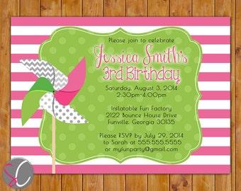 Girl's Pinwheel Birthday Invite Chevron Polka Dots Stripes Pink Lime 2nd 3rd 4th Birthday Invitation 5x7 Digital JPG (321)