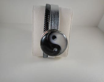 Top quality: 2 genuine leather strap grey strands and glitters with snap chunk interchangeable glass 30mm