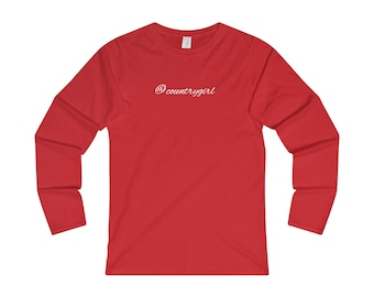 AT Country Girl - Womens Fitted Long Sleeve Tee - White font