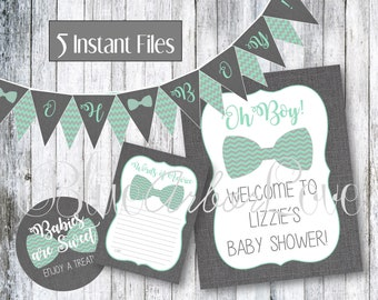 Oh Boy! Bowtie Baby Shower Birthday Party PRINTABLE Party Decorations
