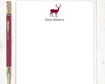 personalized notePAD - BUCK DEER SILHOUETTE - stationery - mens stationary - deer notepad - antlers - letter writing paper