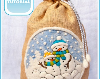 PDF Tutorial Santa Christmas sack snowman How To Felt and sew instructions / Instant Download / Digital Tutorial / Needle Felting