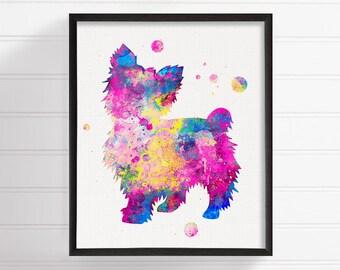 Watercolor Yorkshire Terrier, Yorkshire Terrier Art, Yorkshire Terrier Print, Watercolor Dog, Dog Wall Art, Yorkie Art Print, Dog Girls Room