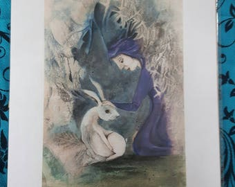 Pagan Hare and Witch A4 Print