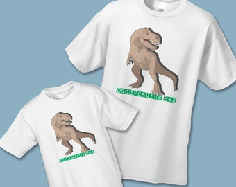 Father's Day Gift - Daddysaurus Rex and Kidsaurus Rex Matching Shirts (Set of 2) - Father Son Daughter Shirt Set - Daddy Baby Shirt Sets