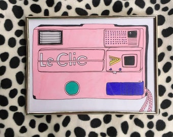 LE CLIC 80S CAMERA original framed illustration