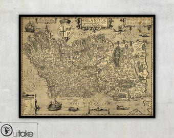 Ancient Ireland map on canvas, ready to hang, 078