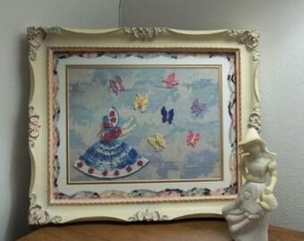 Butterfly Dance--Miniature Crocheted Crinoline Lady in Vintage Frame 8 X 10