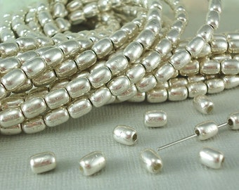 10 Oval Rice Silver Plated Brass Metal Beads 4mm x 6mm Plain Spacer Bracelet Earring Necklace Jewelry making Stringing Supplies