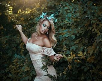 Bohemian Pastel Teal Butterfly Crown - offbeat bride, wedding, fantasy, woodland,green