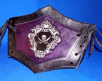Leather Pirate Jolly Roger Cincher Belt