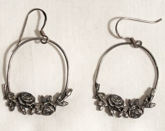 Sterling Silver Rose Earrings Hand Crafted Drop Hoop Romantic Earth Boho --Mint!