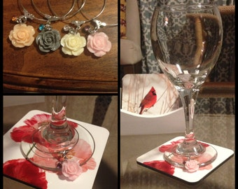 Rose Wine Glass Charms