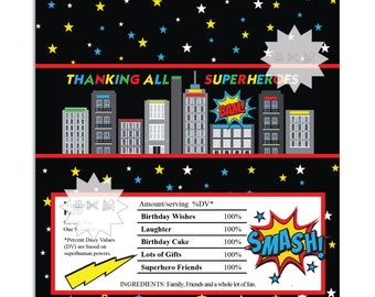 Superhero Thank You Chocolate Bar Wrappers, Skyline Birthday Chocolate Bar Wrapper-INSTANT DOWNLOAD
