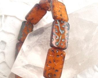 Czech Artisan 12 x 18 mm Flat Rectangle Table Cut Picasso Beads - Golden Orange Opal - 10 Pieces