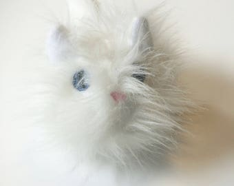Cat Ball White Cat Plushie Toy Snowball Cat Toy