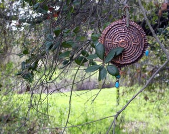 Labyrinth Decorative Hanging - Copper Repousse, Turquoise and Sterling Silver