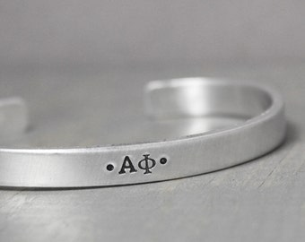 Alpha Phi Cuff, Sorority Jewelry, Sorority Bracelet, Alpha Phi Bracelet, Hand Stamped Cuff, Handstamped Jewelry, Personalized Cuff,