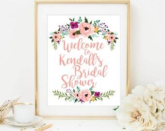Floral Bridal Shower Sign, Bridal Shower, Custom design, custom bridal shower, welcome sign bridal shower