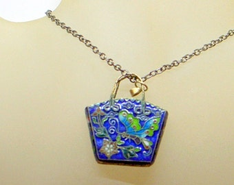 Sterling Enamel Butterfly Necklace -Antique - Blue - Green - Handbag Basket Pendant - Old Chinese Cloisonne - Silver - Lovely Butterfly 3-D