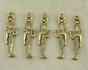 5 Egyptian Standing Goddess Charms > Hieroglyph Queen Ruler - American made Lead Free Pewter in gold tone finish - I ship internationally