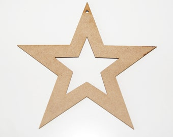 Christmas Star Hanging Decorations Laser Cut 120mm